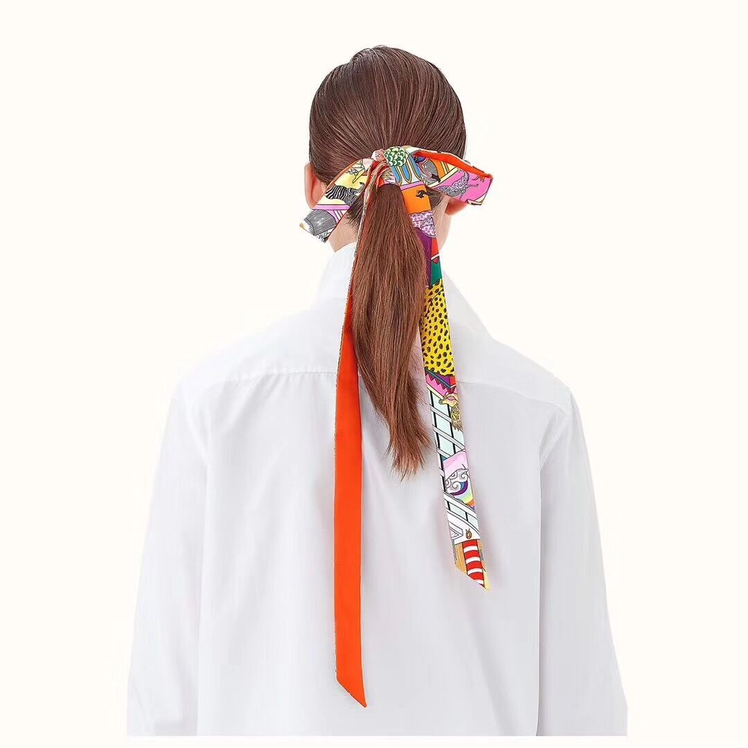 2019 Narrow Long Silk Scarf For Women Long Neck Hair Scarf Bag Strap Small Neck Scarves Fashion Elegant Belt Tie Handbag Scarf