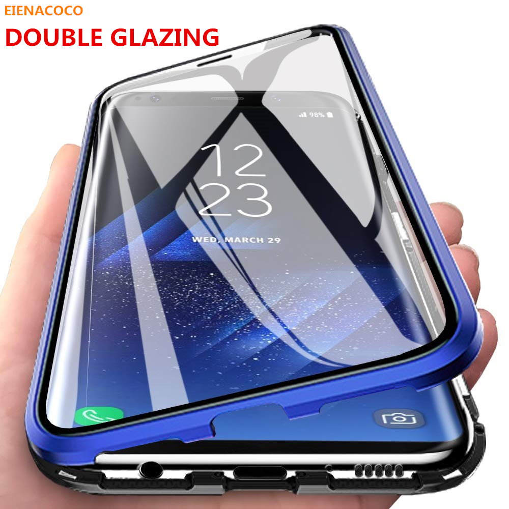 Double Sided Tempered Glass Magnetic Absorption Metal Case for Samsung Galaxy A50 S8 S9 S10 Note 8 10 Plus Full Protection Case|Fitted Cases| |  - title=