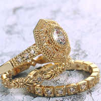 Huitan Trendy Luxury 3 PC Bridal Ring Sets Noble Royal Golden Color With Cubic Zircon Stone Factory Wholesale Women Midi Ring
