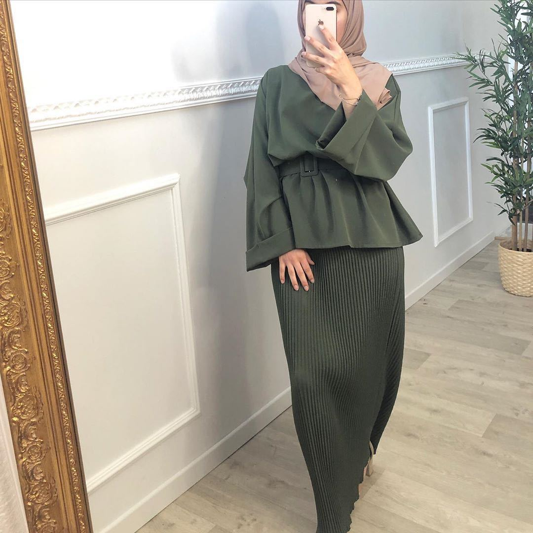 Ramadan Eid 2021 Women Muslim Sets Nida 2 Pieces Matching Outfits Long Sleeves Belted Tops Shirt Tnic Maxi Pleated Skirt Dubai