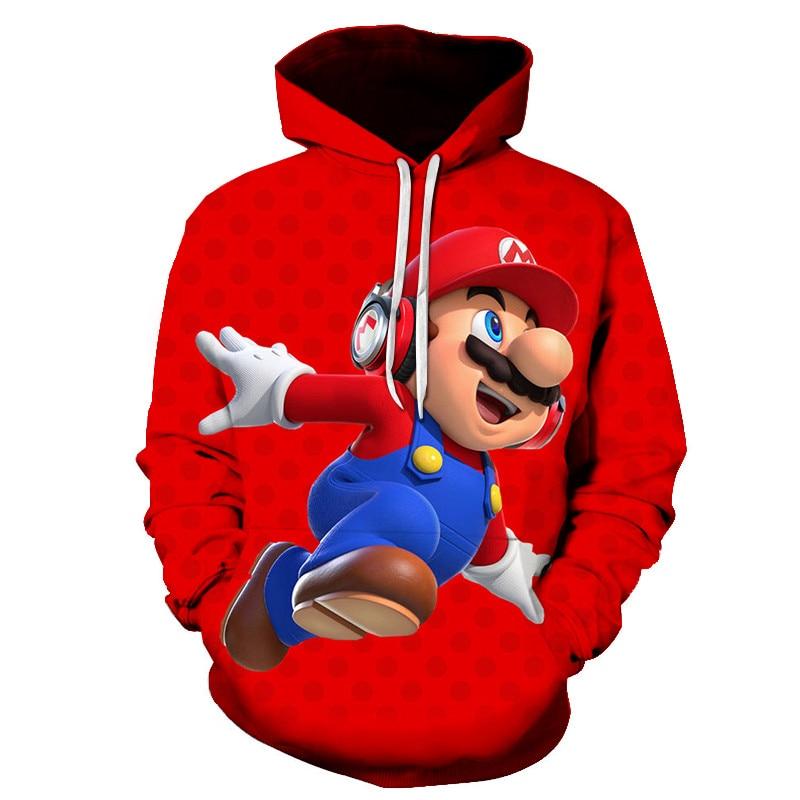 2019 Autumn New Style 3d Hoodies Cartoon Super Mario 3D Print Hoodie Sweatshirt Casual Pullover 3d Jacket Coat S-6XL