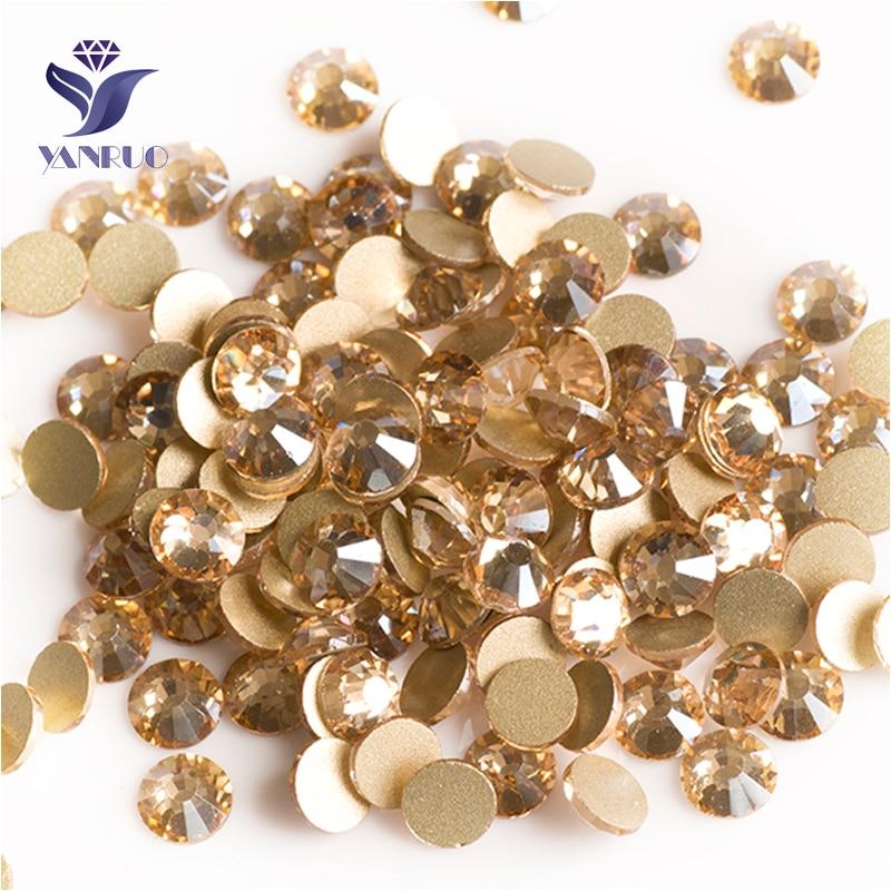 YANRUO 2058NoHF SS3-SS34 Golden Shadow Gold Stone Crystal Strass Non Hotfix Flat Back Glue On Rhinestone For Nail Art