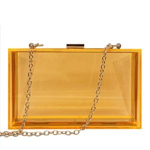 Image 5 - 새로운 투명 아크릴 가방 지우기 클러치 저녁 가방 웨딩 파티 핸드백 체인 여성 숄더 가방 지갑 9 색