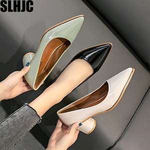 SLHJC Women Mid Heels Shoes Spring New Stylish Leather Pumps Office Lady Work Shoes 5 cm Square Heels