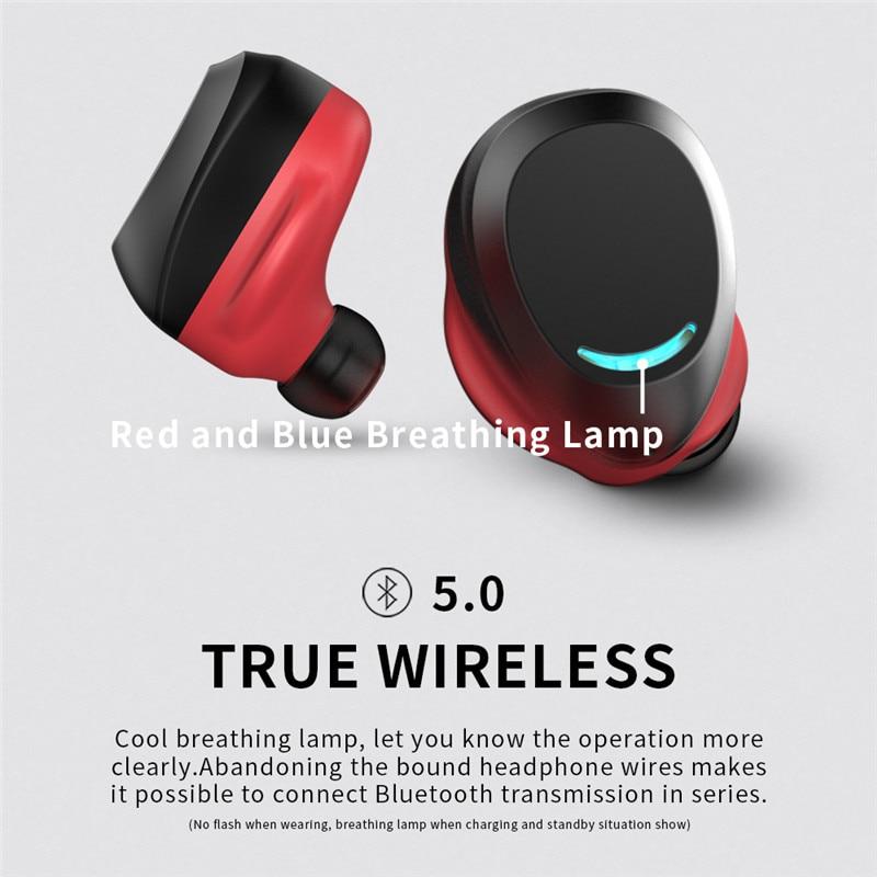 True Wireless Earbuds Bluetooth 5 0 Earphones Auto Pairing Headset Hifi Stereo Game Headphones Red Silver Tws For Iphone Samsung Bluetooth Earphones Headphones Aliexpress