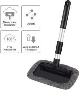 Image 2 - Windshield Cleaning Tool Microfiber Car Interior Window Cleaner with Extendable Aluminum Handle