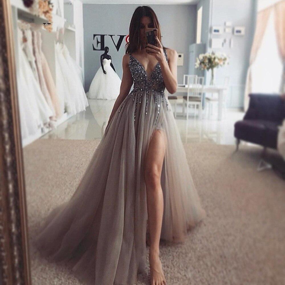 Бисер выпускные платья, v-образный вырез на шее, светильник, серый, высокий каблук Разделение шелковое платье, свадебное платье, платье без рукавов вечернее платье А-силуэта, с низким вырезом на спине, Vestido De