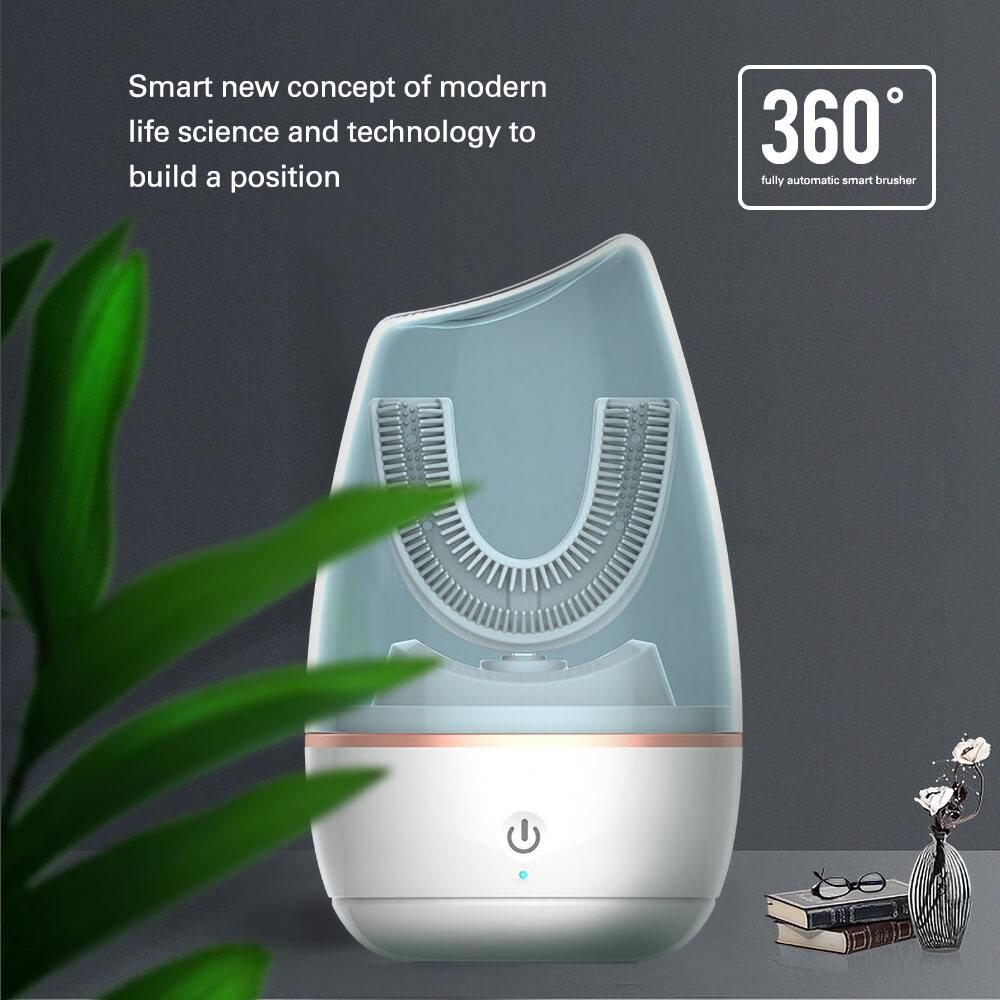 360 Sonic Electric Toothbrush Automatic Electronic Brush Smart U Type Teeth UV Disinfection Ultrasonic Toothbrush Blue Light