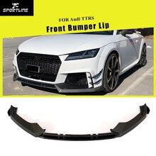 Для Audi TTRS углеродное волокно передний бампер спойлер сплиттеры для Audi TTRS углеродное волокно 3 шт. стиль высокое качество
