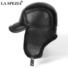 LA SPEZIA Winter Hat Men Genuine Leather Sheepskin Bomber Hat Earflap Black Warm Thick Ski Snow Windproof Male Russian Hat