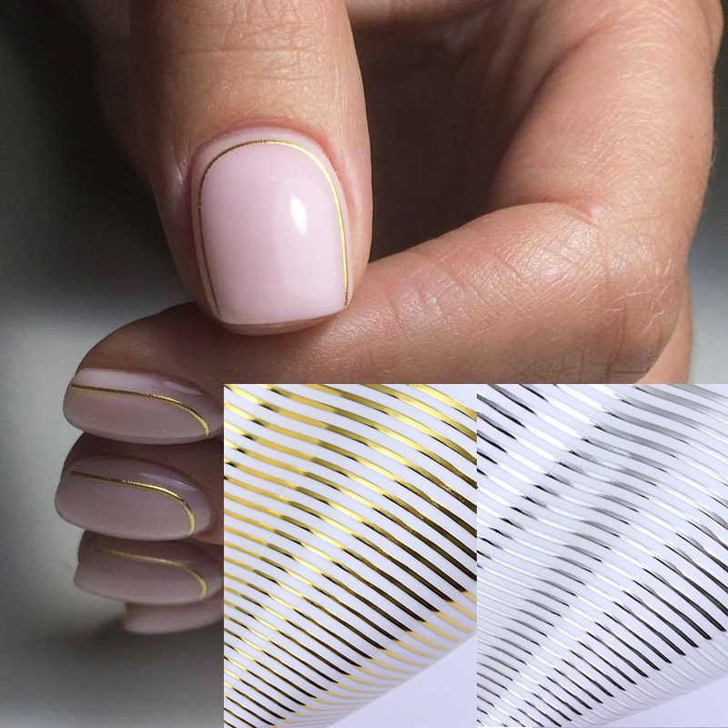 Gebogen Streep Lijn Patroon 3D Nail Stickers Zelfklevende Transfer Stickers Decals Goud Zilver Decoratie Tips Papers Nail Tool