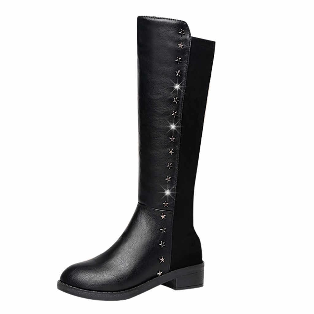 แฟชั่นเข่าสีเข่า-ยาวรองเท้าหนังสีดำรอบ Toe SLIP-ON รองเท้า Chunky รองเท้าส้นสูง VINTAGE ผู้หญิงแผ่นรองพื้น Plush Snow BOOTS