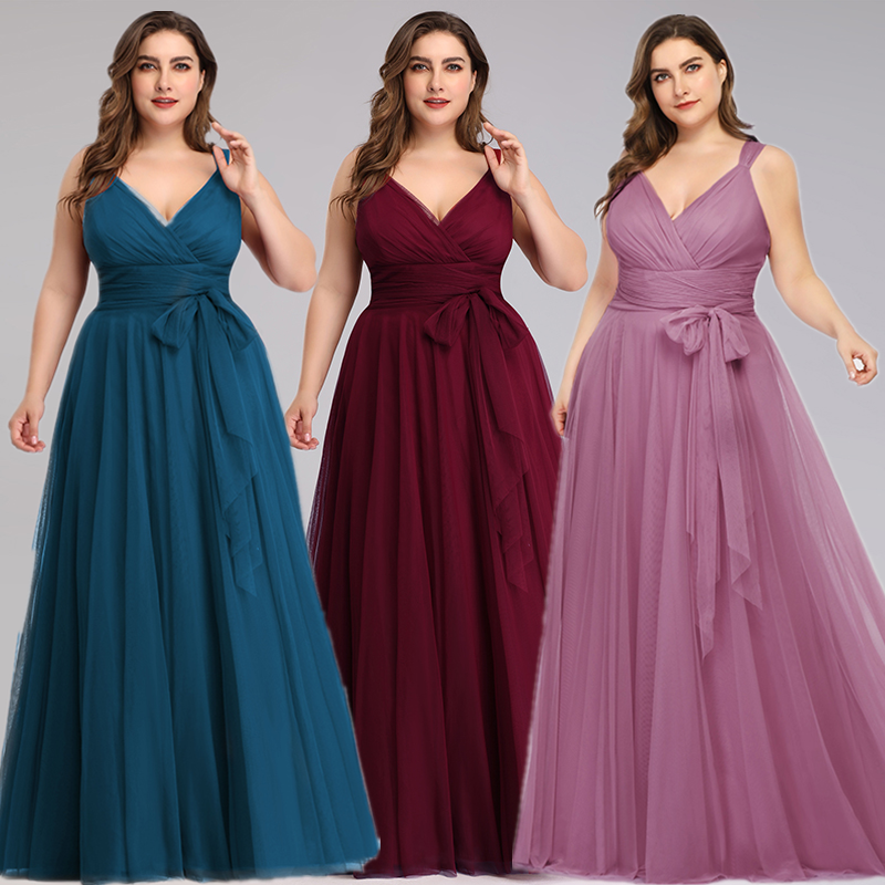 A-line Floor-Length   Bridesmaid     Dress   2020 ELegant Tulle V-neck Pleated   Dress   with Bow Sashes Sleeveless   Dress   for Wedding Party