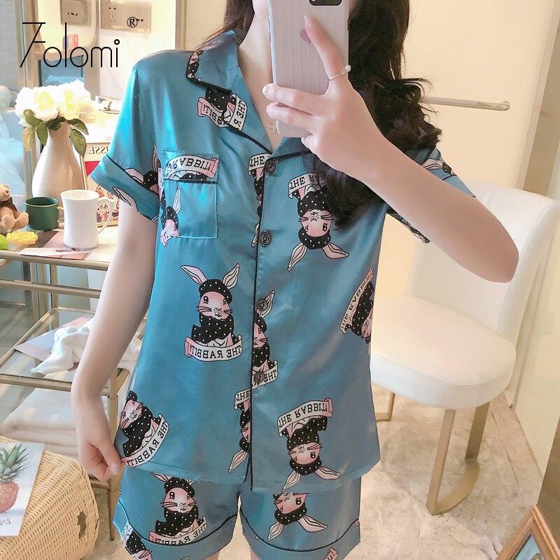 2020 New Printing Short Sleeve Silk Pajamas Set Two Pieces Set Women Sleepwear Cute Nightwear For Women Sleeping Set