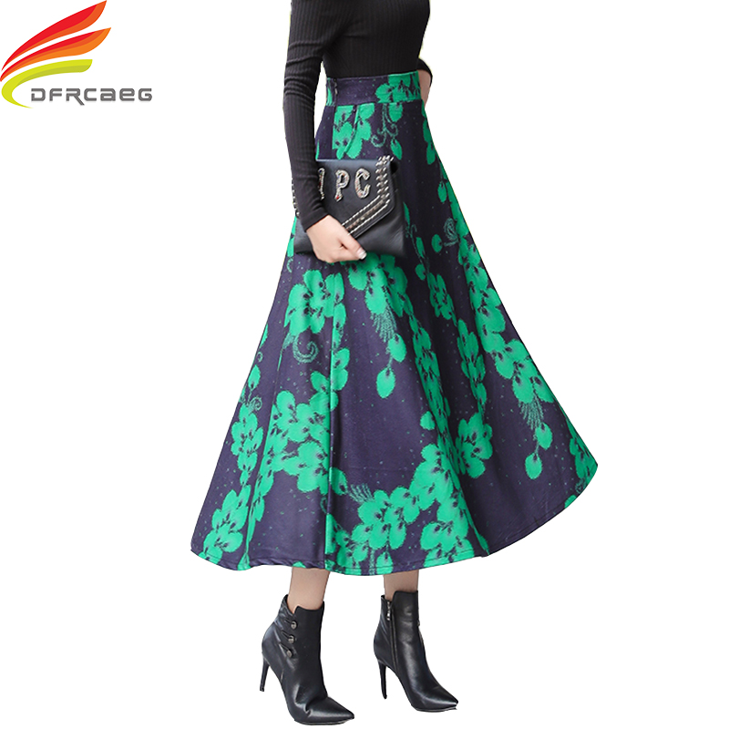 High Elastic Waist Winter Skirts Women 2019 Fashionable Green Blue Floral Long Winter Woolen Skirt Pockets Maxi Skirt Plus Size