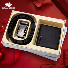 BISON DENIM Genuine Leather Men's Wallet With Luxury Male Belt Gift Box Card Holder Wallet for Father Friend Birthday Gift Set