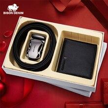 BISON DENIM prawdziwy męski portfel ze skóry z luksusowym męski pasek pudełko portfel z saszetką na karty dla ojca prezent urodzinowy dla przyjaciela zestaw