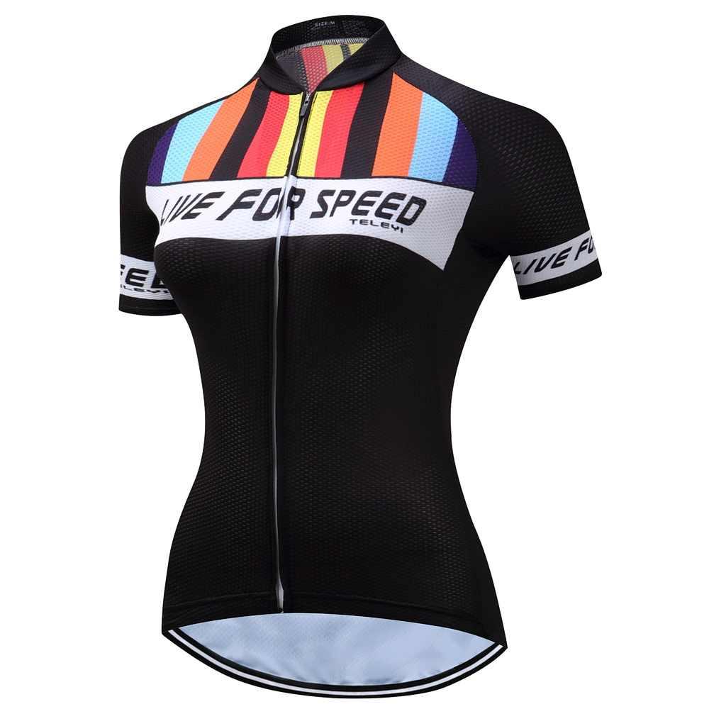 2019 Велоспорт Джерси Женский велосипед Джерси шоссейные MTB велосипедные рубашки короткий рукав одежда для велосипедных гонок Топы Дышащие Девушки футболка для велоспорта черный