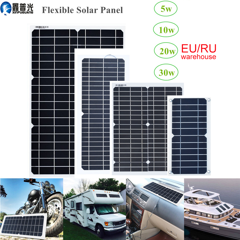 xinpuguang flexible <font><b>solar</b></font> <font><b>panel</b></font> <font><b>12v</b></font>/18v <font><b>5w</b></font> 10w 20w 30w kit home system charger DC usb for 5v Phone car RV Battery Hiking camping image