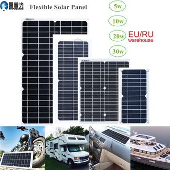 xinpuguang flexible solar panel 5w 10w 20w 30w 18v kit home system 12v Battery charger DC 5v usb for Phone car RV Hiking camping