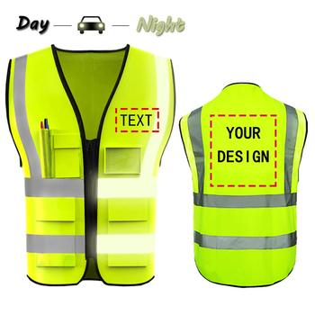 Free shipping Custom Your Logo Protective Workwear safety clothing 5 Pocket High Vis Safety Vest With Reflective Outdoor Work spardwear reflective safety clothing safety orange vest reflective vest work vest traffic vest free logo printing