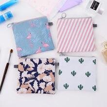 Saco de armazenamento de guardanapo à prova dwaterproof água portátil zíper feminino menina flamingos higiênico almofada organizador bolsa de moeda cosméticos titular