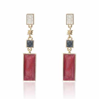 Korean Trendy Earrings Square Design Drop Earrings For Women Geometric Long Wedding Dangle Earring Fashion Jewelry Gift Brincos