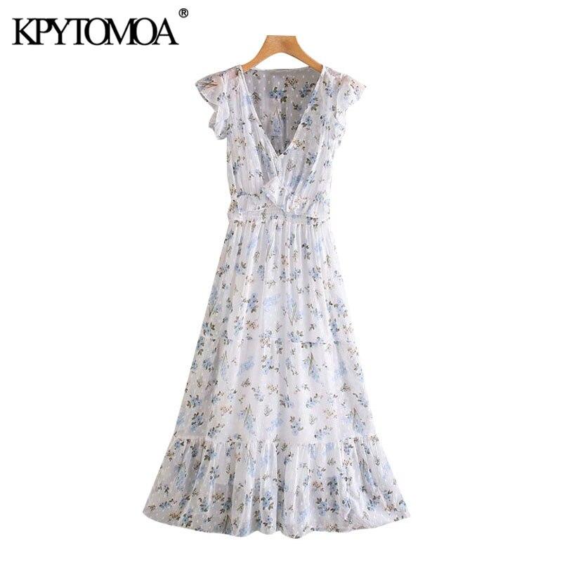 KPYTOMOA Women 2020 Chic Fashion Floral Print Ruffles See Through Midi Dress Vintage Elastic Waist With Lining Female Dresses