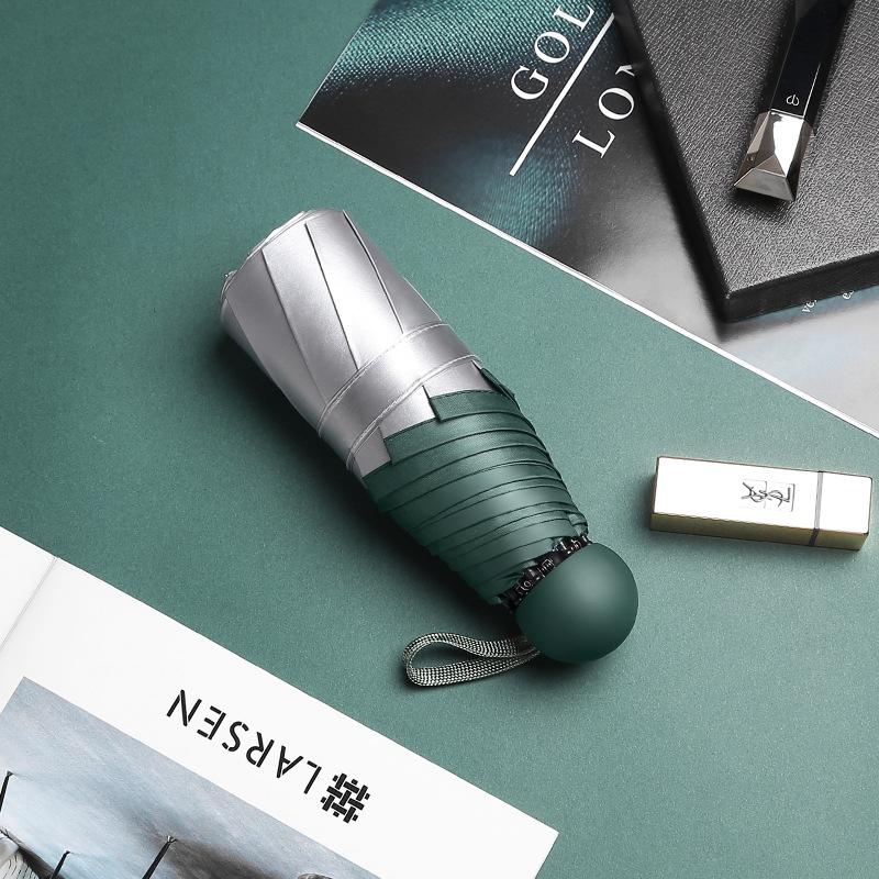Creative New Style Trim Titanium Silver Colloid Color Handle Five-fold Umbrella Sun-resistant UV-Protection 21-Inch Eight Bone P