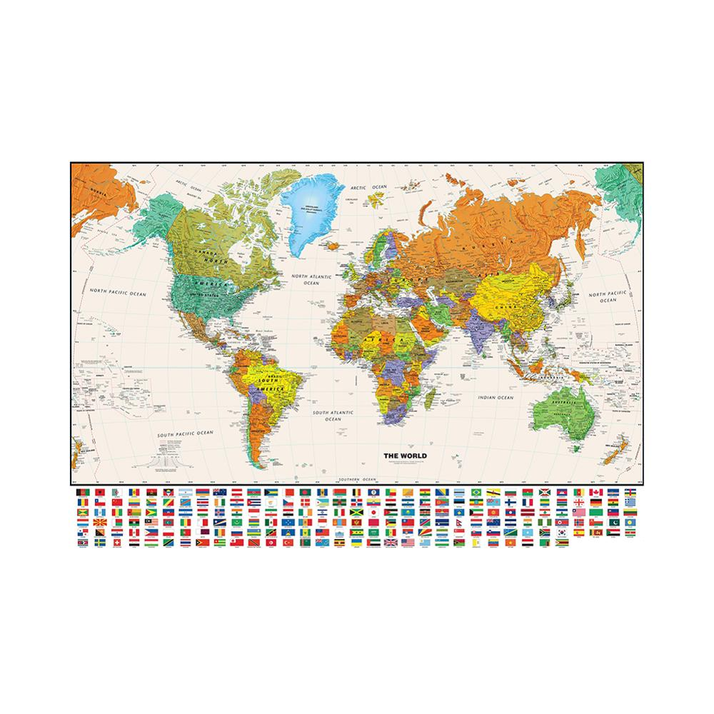 150x225cm The World Physical Map With National Flag For Education And Culture Non-woven Spray World Map