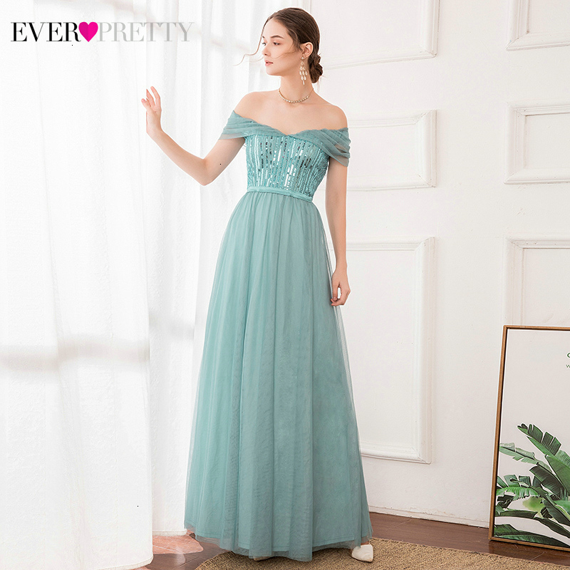 Sequined Evening Dresses Long Ever Pretty A-Line V-Neck Off The Shoulder Ruffles Sleeve Elegant Party Gowns Vestidos Largos
