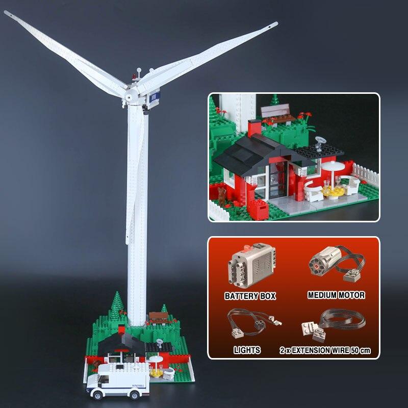 DHL 37004 Creatieve Speelgoed De 10268 windmolen turbine met motor functie Bouwstenen Bakstenen Kinderen Technic Speelgoed Kerstcadeaus-in Blokken van Speelgoed & Hobbies op  Groep 2