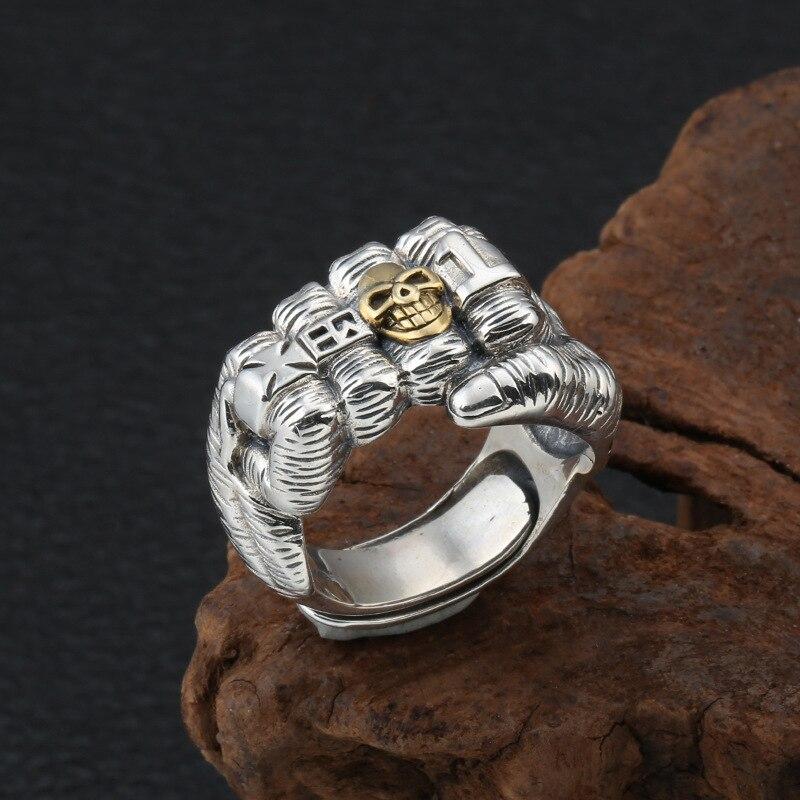 2020 créatif Punk poing crâne croix réglable anneau 100% réel S925 argent Sterling bijoux fins hommes déclaration amour Simple anneau - 5
