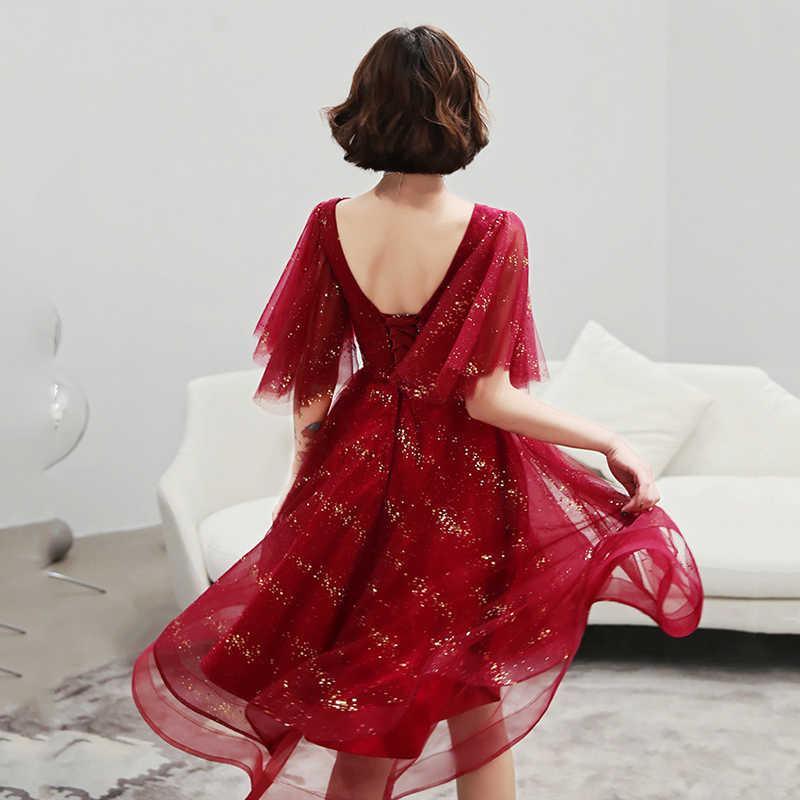 Женское Платье До Колена It's Yiiya, бордовое вечернее платье трапециевидной формы, необычное бальное платье для выпускного вечера, K276