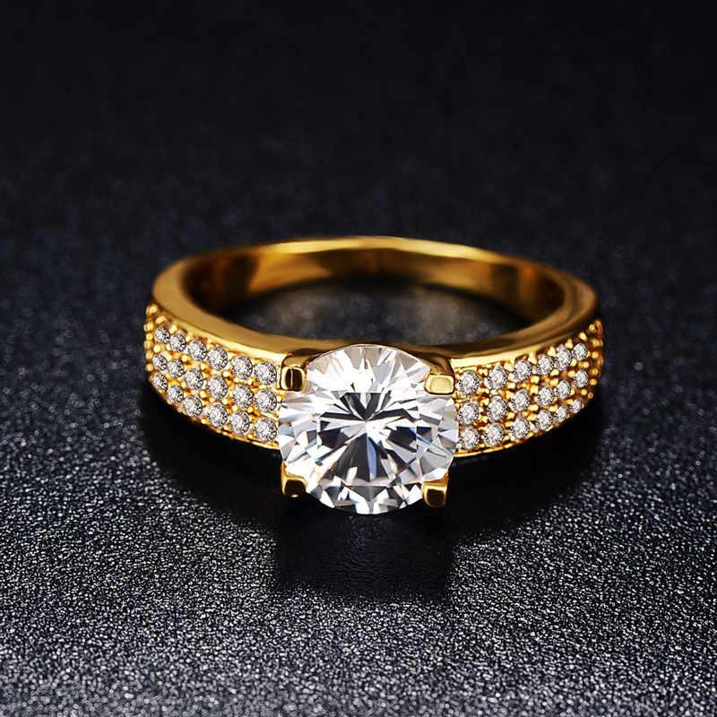 YANHUI Haben 18K RGP Stempel Reine Solide Weiß/Gelb/Rose Gold Ring Solitaire 2,0 ct Lab Diamant engagement Hochzeit Ringe Für Frauen