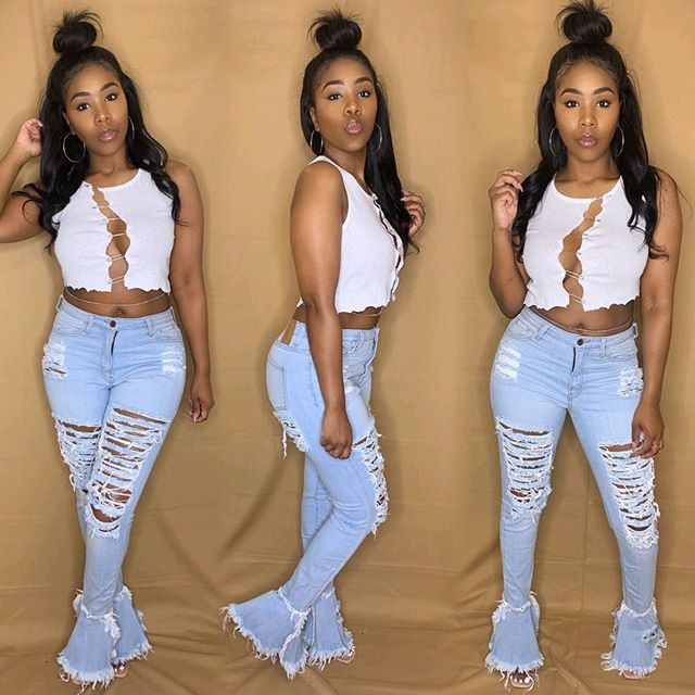 Echoine Sexy Ripped Jeans Fringe Hollow Out Ruffle Flare Denim Pants High Waist  Bodycon Hole Women Trousers Club Outfits