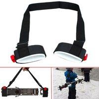 Bretelles réglables de poignée de cils de transporteur de main d'épaule de poteau de Ski Porter la boucle de crochet protégeant les sacs en Nylon noirs de sangle de poignée de Ski|Ski Sacs| |  -