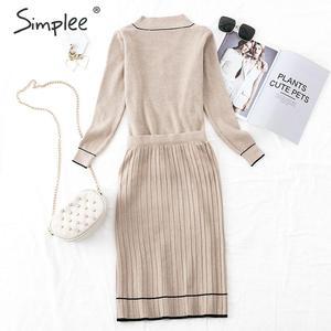 Image 4 - Simplee vestido plisado elegante de dos piezas para mujer, vestido de punto con cuello de pico, suéter de otoño para mujer, vestidos sueltos de oficina para mujer, vestidos de invierno