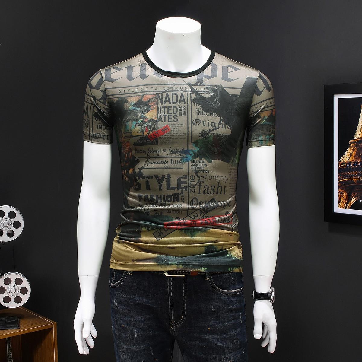 Personality Print Tshirt Man Club Party Summer Streetwear T-shirt Fashion Homme Hombre Camiseta Hombre Manga Corta Short Tee