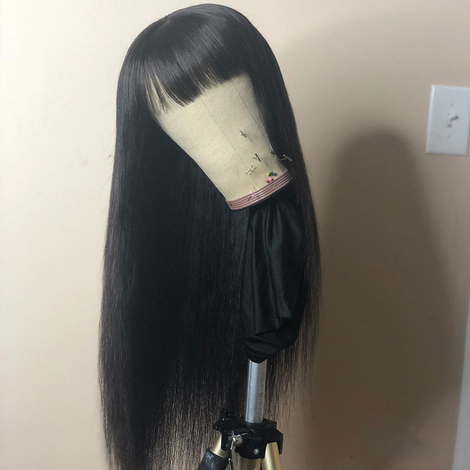 Short Wigs With Bangs Straight  Human Hair Wig Brazilian Remy Hair Pre Plucked With Natural Hairline For Black Women