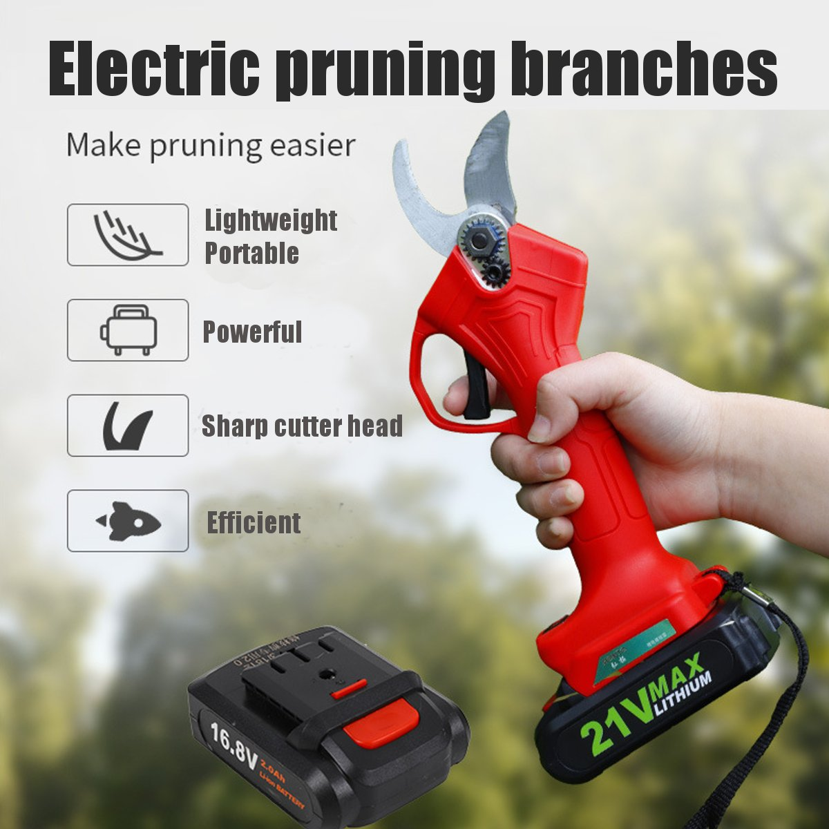 16.8V/21V Electric Garden Pruner Scissors Cordless Electric Pruning Shears Branch Cutter Electric Fruit Pruning Tool