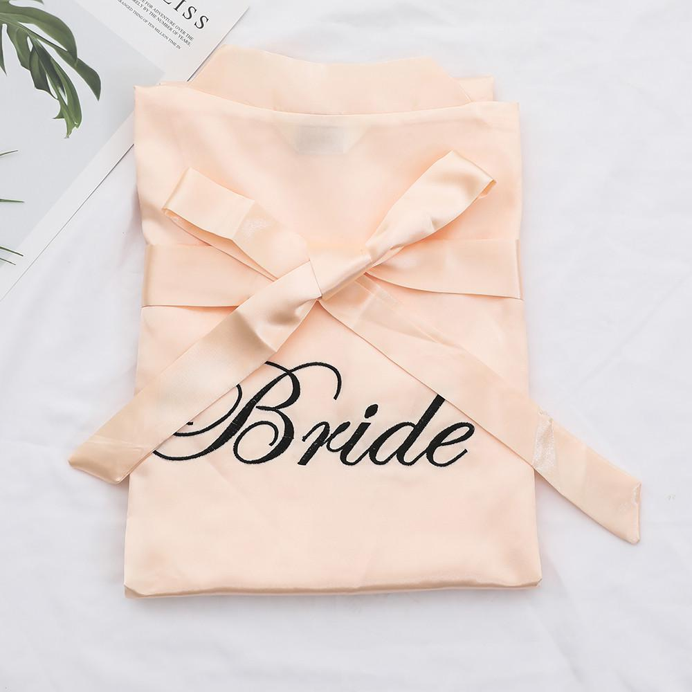 Women Bride Bridesmaid Wedding Robe Solid Short Kimono Bathrobe Exquisite Embroidery Casual Soft Ntimate Lingerie Sleepwear