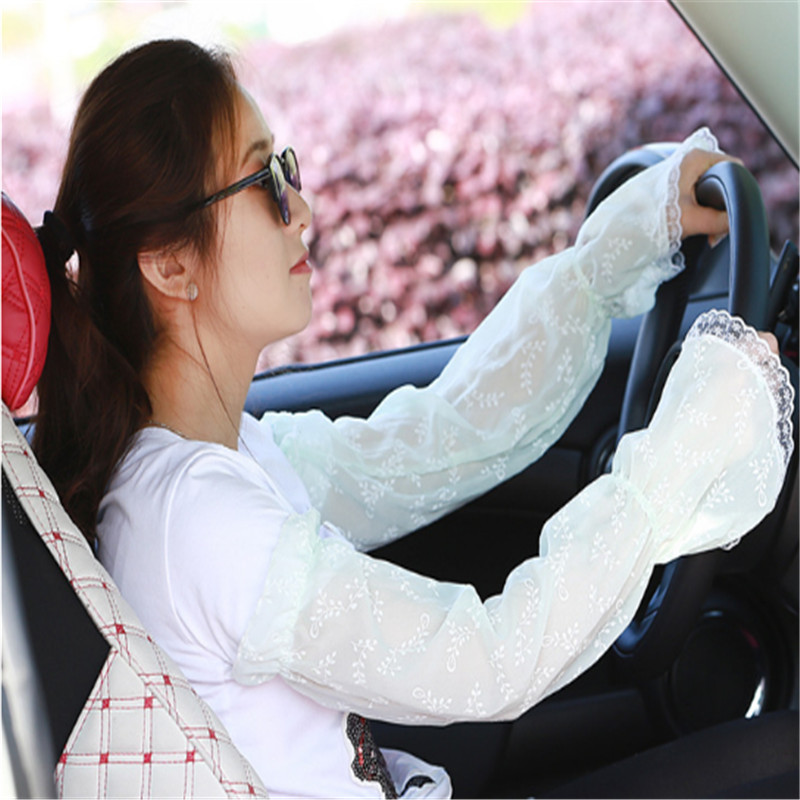 Female UV Sunscreen Car Driving Gloves Cuff Hand Protection Women Fingerless Lace Ruffle Floral Long Arm Warmers Sleeves