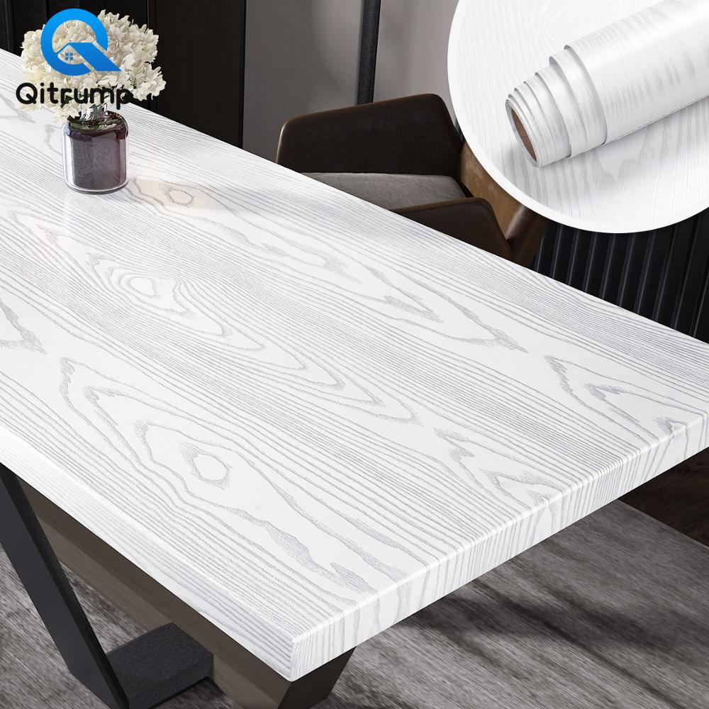 Wood Grain Wallpaper Self-adhesive Waterproof Wall Stickers Contact Papers Wardrobe Furniture Door Film Decor Home Improvement