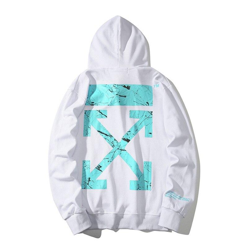 Off Ow White Light Blue Marbling Printed Arrowhead Men And Women Popular Brand Hoodie Men's Sweatshirts & Hoodies