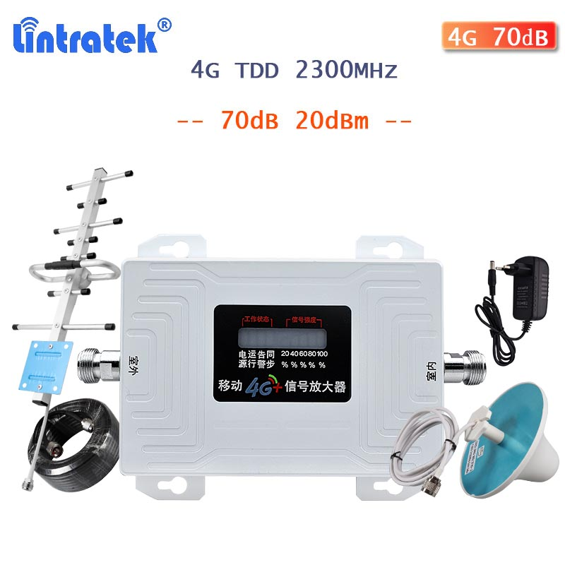 Lintratek 4g TDD Band40 2300MHz Signal Booster AGC 70dB Cellphone Repeater LCD Display Cellular Amplifier Internet Full Kit