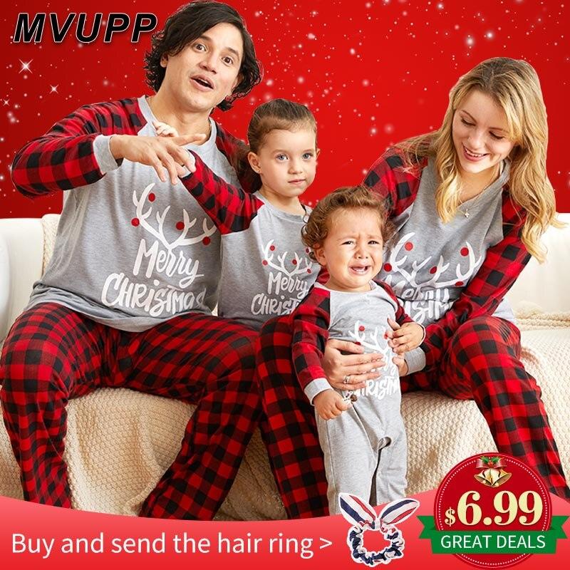 Weihnachten familie pyjamas set mutter tochter vater sohn body nachtwäsche papa mama und mich passenden outfits mama baby kleidung aussehen