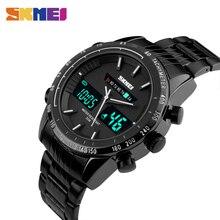 цена на SKMEI Sport Watch Men Stainless Steel Band Dual Display Calendar Wristwatches 30M Waterproof Week Display Quartz Watches 1131