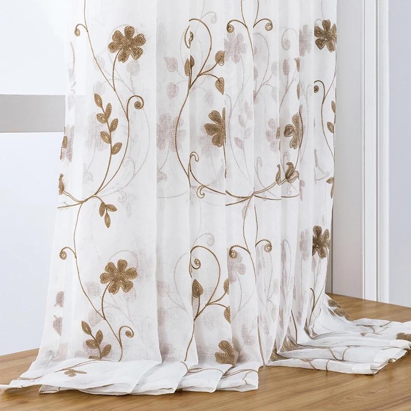 rideaux de fenetre en tulle brode floral voile de cuisine pour salon chambre a coucher stores de porte en tissu