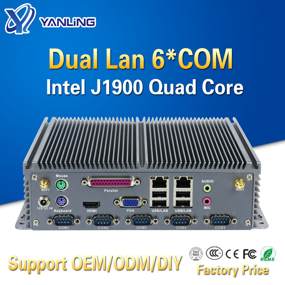 Yanling Low Power Mini Itx Computer Intel Celeron J1900 Quad Core Dual Lan Barebones Fanless Industrial Pc With Parallel Port